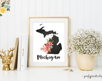 Chalkboard Michigan Print, Watercolor Floral Michigan Art, Home is Where the Heart Is Michigan, Home Sweet Home - INSTANT DOWNLOAD - 307