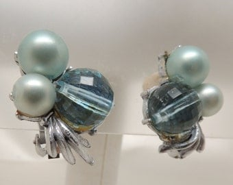 Vintage Blue Crystal and Pearl Clip On Earrings