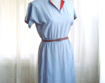 Cute Little 1960's Blue Chambray Day Dress, Size Small