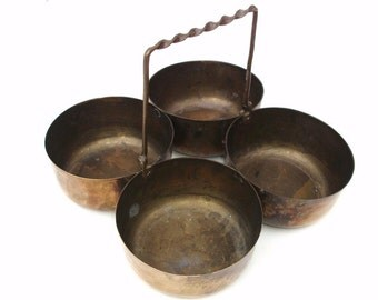 Vintage Brass Tray | Brass Bowls | Catch All Tray | Brass Caddy | Serving Tray | Metal Organizer with 4 Bowls