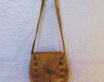 70's Vintage Hippie Leather Purse Shoulder Bag