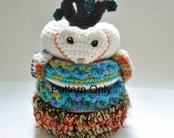 Crochet Pattern, Barn Owl Nest Stacking Rings