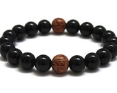 Men Mala Wood Beads Bracelet, Men Mala Bracelet, Onyx Brown Coconut Wood Beads Chakra Bracelet Buddhist Beads Prayer Worry Beads