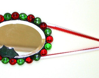 Winter Christmas Stained Glass Beveled Oval Mirror Wall Hanging