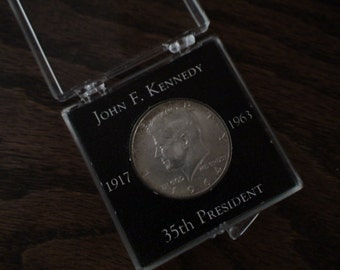 John F. Kennedy, 35th President 1964, 1917-1963, Clear Case, Stored for 50 Years, Collectible Kennedy Half Dollar, Silver