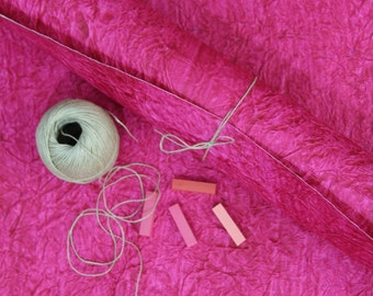 """Pink Handmade Recycled Rag Paper from India, 25x30"""", Rich Crinkled Leather Texture Perfect for Craft Projects, Gift Wrap, Eco Friendly"""