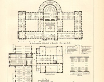 1903 Ground Plans of Library Buildings Vintage Engraving Print
