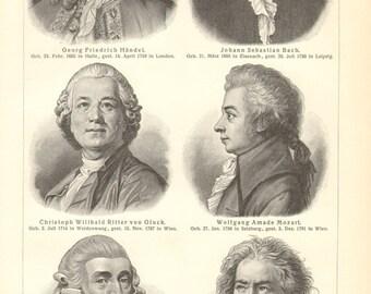 1903 Portraits of Famous Musicians and Composers, Handel, Bach, Gluck, Mozart, Haydn, Beethoven, Weber, Schubert, Mendelssohn Vintage Print