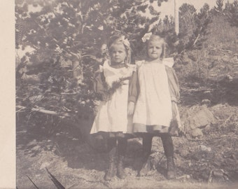 Come Play With Us Danny- 1900s Antique Photograph- Ghost Twins- Rocky Mountains- Haunted- Real Photo Postcard- AZO RPPC- Paper Ephemera