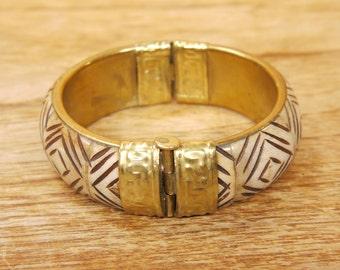 Bone and Brass Bangle Pin Closure c.1930s