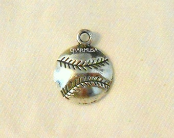 10 Pieces Baseball Tibetan Antiqued Silvertone Charm Pendants destash collection