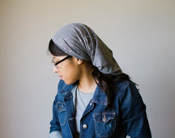 ON SALE Sparkly Gray Long Stretch Knit Headcovering | Women's Headcovering Veil