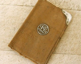 STERLING & SUEDE BILLFOLD Wallet Tan Leather Small Size 6 Inner Pockets Monogram L L in Silver Circle London Hallmarks 1913 Free Shipping!
