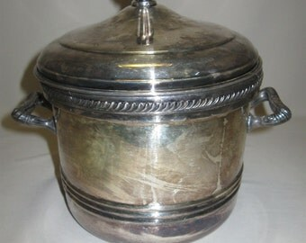 Silver Plate F B Rogers Silver Co Ice Bucket Rope Line Design 2 Handles #114 1883-1955