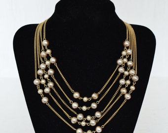 Vintage Necklace with Five Strands of Faux Pearls and Chains
