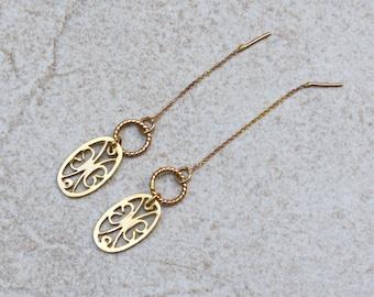 14k Gold threader earrings, Gold Filigree earrings, 14k Yellow Gold earrings, 14k Solid Gold earrings, Threader earrings Gold