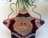 Primitive Star Santa Christmas Ornament, Country Christmas