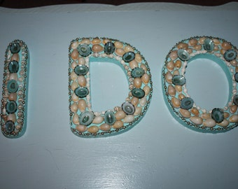 Wedding I DO Letters Seashell Embellished