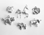 Farm Animals Charm Collection in Silver Tone - C2198