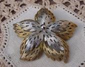 Vintage Mid Century Metallic Starfish Brooch