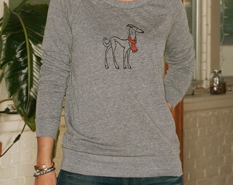 the dapper Greyhound Shirt, Italian Greyhound, Dog Sweater, Slouchy Pullover, S,M,L,XL