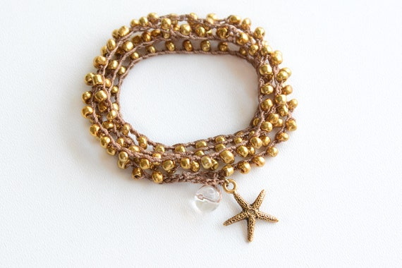 Gold Starfish Crochet Wrap Bracelet Starfish Beach Bracelet Friendship Bracelet Beaded Crochet Necklace Crochet Bracelet Boho Mermaid Gift