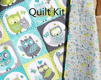 Owl Quilt Kit, Boy Whoo Loves You, Northcott, Michele Scott, Panel Stripe, Quick Easy Fun, Beginner Project, Grey Gray Teal, Baby Toddler