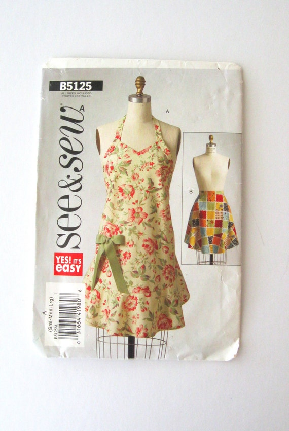 Apron Pattern Butterick See And Sew B5125 Womens Retro Full