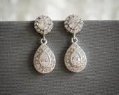 Bridal Earrings, Crystal Wedding Earrings, Zirconia Wedding Bridal Jewelry, Teardrop Dangle Bridal Earrings, Halo Style Stud Earrings, ELETA