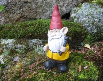 Garden Gnome, Concrete Gnome with Pick Axe, Cement Gnomes, Stone Gnome, Traditional Garden Gnomes, Garden Decor, Gnome Land,