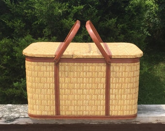 Picnic Basket Gingham Red and White Checkered Basket