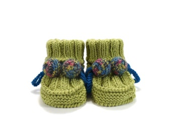 Knitted Baby Booties - Green, 0 - 6 months
