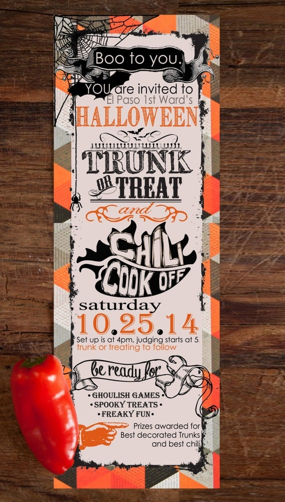 halloween party trunk or treat chili cook off by