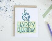 Block Print Card - Happy Birthday Cat