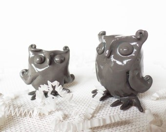 Sale! Pair of Gray Polymer Clay Owls- Scratch and Dent Sale