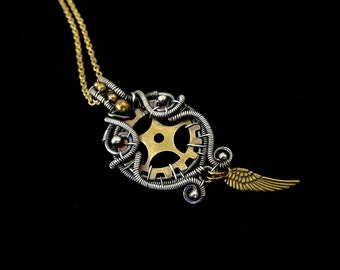 Steampunk Pendant Necklace - Sterling Silver Brass - Angel Wing -  Wire Wrapped - Steampunk Collection