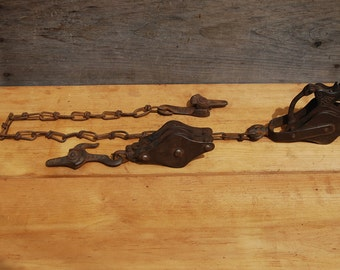 Vintage Metal Double Pulley with Chain Block and Tackle Wire Fence Stretcher