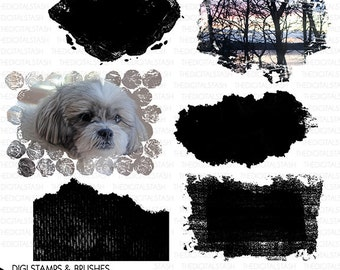 Painted Photo Clipping Masks - Artsy Stamps and Brushes - INSTANT DOWNLOAD - for Scrapbooking, Crafts, Collage, Cards, Journaling