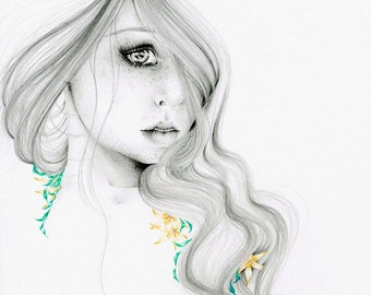 "Fashion Illustration Pencil Drawing Giclee Print of my Original Pencil Drawing Minimalist Fine Art ""The Beauty Within""  Art Print"