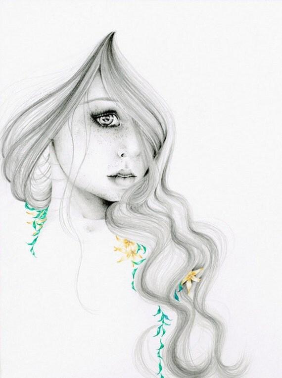 "Fashion Illustration Pencil Drawing Giclee Print Original Pencil Drawing Minimalist Fine Art ""The Beauty Within""  Art Print Fashion Wall Art"