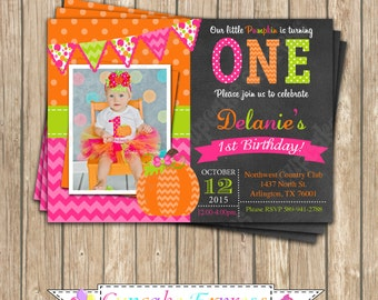 Pumpkin Patch One First Birthday girl orange pink green  PRINTABLE Invitation #2 chevron polka dot  1st birthday halloween fall -1050