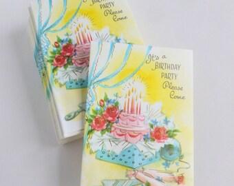 Birthday Party Invitations Lot of 10 Unused Mid Century Cards