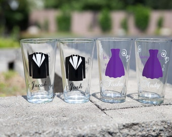 Wedding party pint glasses, Personalized Bride, Bridesmaids and Groom, Groomsmen. Bridal Party glasses, Best Man Dress Tux. Bridesmaid gift
