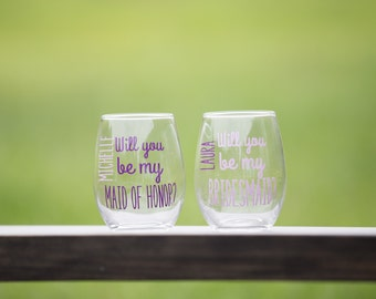 Will you be my Bridesmaid. Maid of Honor, stemless wine glasses,choice of colors. Will you be my Bridesmaid gift idea. Be my Maid of honor?