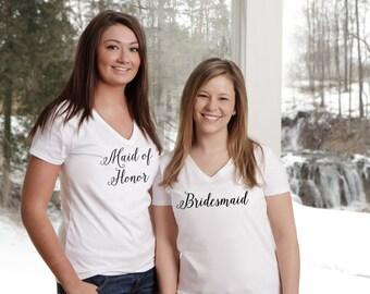 Wedding party shirts. Bridesmaid gift. Maid of honor gift idea. Bridesmaid shirts. Custom wedding party shirts. Personalized bridal party