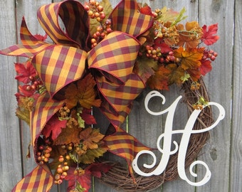 Fall Wreath with Monogram