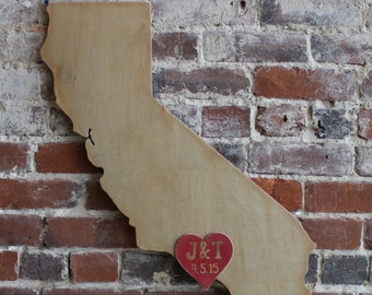 """Wedding Guestbook Wooden State - 36"""" California in Distressed Vintage Gold- any state/country available in many colors"""