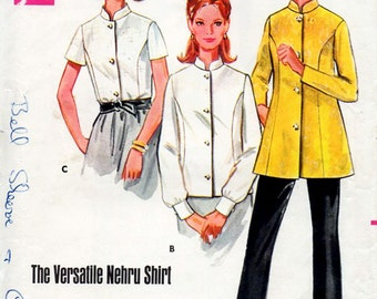 1960s Nehru Shirt Pattern Butterick 5046 Vintage Sewing Pattern Tunic Blouse with Standing Mandarin Collar Bust 31.5