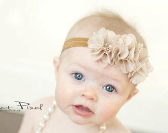 chiffon headband- baby shabby headband- flower headband - tan flower headband- baby headband- rhinestone headband- girls headband - newborn