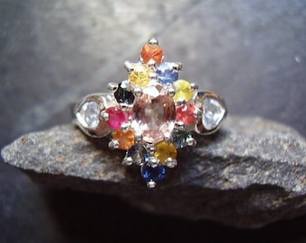 Confetti - Genuine Earth Mined Oval Pink Zircon & Sapphire Ring - 925 Sterling Silver Ring - Alternative Engagement - Unique Wedding Ring
